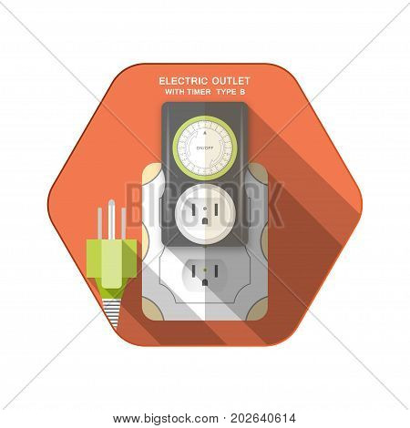 Vector isolated icons of green electric plug type B dark gray timer with outlet and mechanical green ring switch insert in socket on the red hexagon background with shadow for use in USA and Canada.