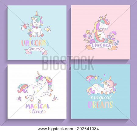 Set of magical unicorns greeting cards with lettering. Vector illustration for print and greeting cards, print.