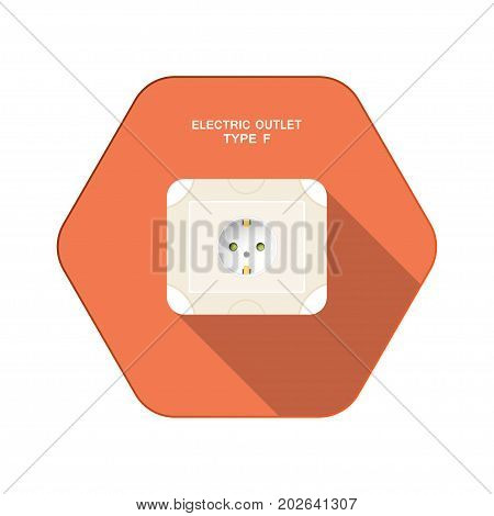 Vector isolated icon of electric outlet type F on the red hexagon background with shadow for use in Europe.
