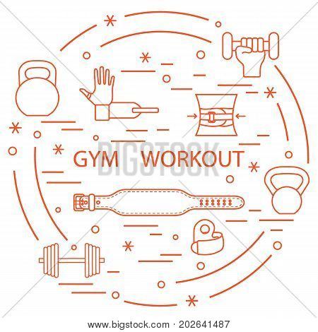 Powerlifting Gym Workout Elements Arranged In A Circle.
