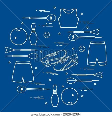 Vector Illustration With Goods For Sports Arranged In A Circle. Sports Theme.
