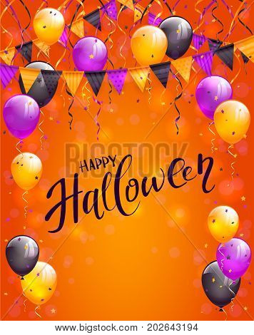Text Happy Halloween on orange background with multicolored balloons, pennants, streamers and confetti, illustration.
