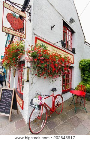 Keswick United Kingdom - 12 August 2017: Restaurant in the picturesque Lake District town of Keswick during the summer tourist season. Keswick is a market town in the north Lake District Cumbria England.