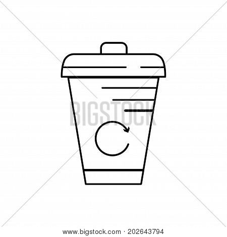 Modern thin line icon of Trash can. Premium quality outline symbol. Simple mono linear pictogram drawing art sign. Stroke logo concept for web graphics. Vector