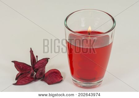 Aromatic candle for home with berries odor