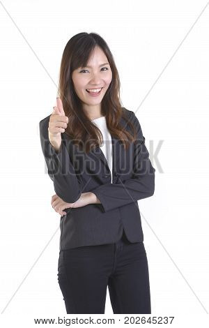 Happy business women pointing foward at white copy space isolated on white background.