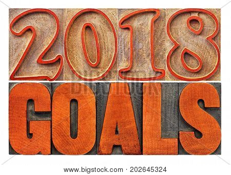 2018 goals banner - New Year resolution concept - isolated text in vintage letterpress wood type printing blocks stained by red ink