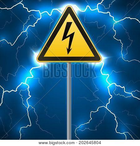 Warning sign. Electrical hazard. Fenced danger zone. pillar with sign. Lightning strikes. Flash arcing. Fantastic background. Vector illustration
