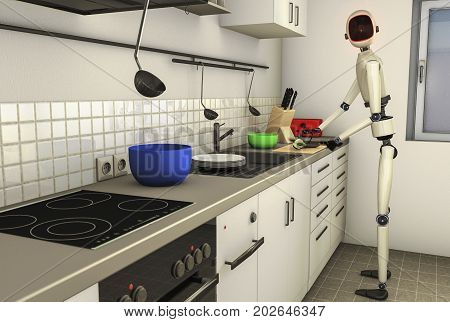 a robot makes the food in the kitchen (3d rendering)