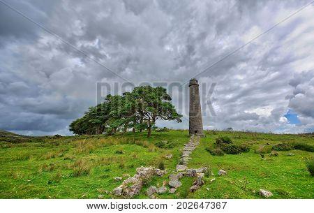Old Ruined Tin Mine, old ruined granite buildings set on Dartmoor.. UK