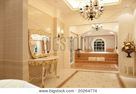 Modern contemporary style master bathroom.