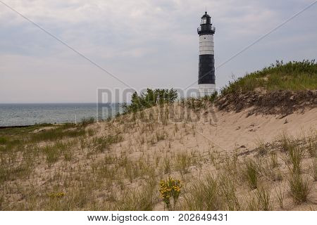 Big Sable Lighthouse - A lighthouse along the sandy shore of Lake Michigan.
