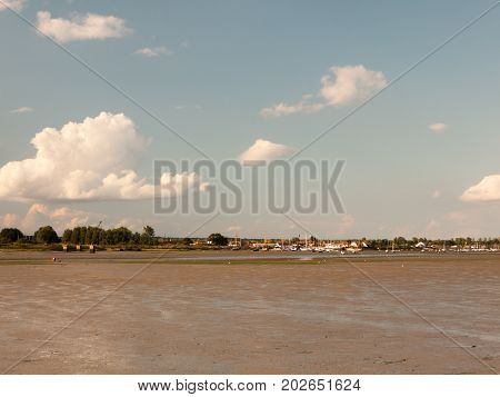 Landscape View Of Maldon Docks Boats Moored Across From Mudflats With Tide Out Sunny