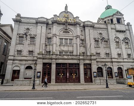 ABERDEEN, SCOTLAND: JULY 25: His Majesty's Theatre on July 25, 2017 in Aberdeen, Scotland. It is a large refurbished Edwardian theatre hosting classic drama, musicals, opera and dance productions.
