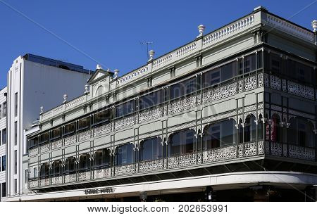 BRISBANE, AUSTRALIA - August 29, 2017: View of the original charm and genuine hospitality of the historic Empire Hotel built in late 1888 and located in Fortitude Valley Brisbane Australia