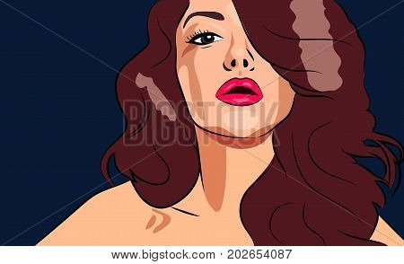Portrait of beautiful girl for ads or banner of cosmetology clinic, beauty salon, lashmaker, hairdresser, cosmetics, business etc.