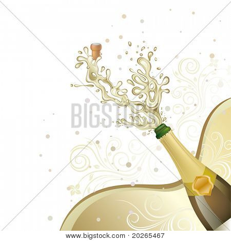 champagne explosion,vector floral background