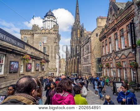 EDINBURGH, SCOTLAND - JULY 26: Looking down the Royal Mile in the Old Town on July 26, 2017 in Edinburgh Scotland. The Royal Mile is the most popular attraction in Edinburgh and hosts many tourists.