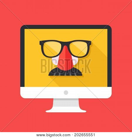 Disguise mask with glasses and mustache on computer screen. Incognito mode, VPN, private browsing, privacy, anonymous web browsing concept. Long shadow design. Creative flat design vector illustration