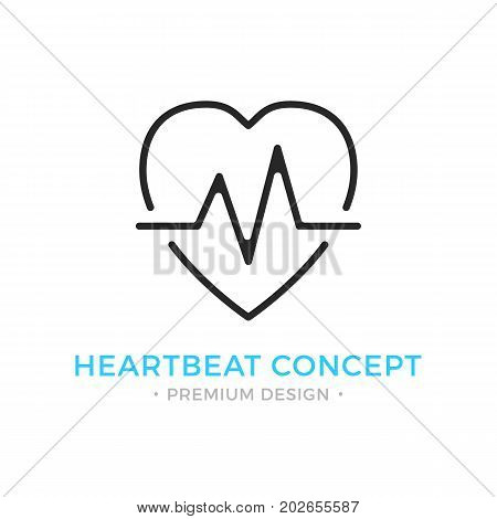 Heartbeat icon. Pulse, heart beat, healthcare, cardiology logo. Premium design. Vector thin line icon isolated on white background