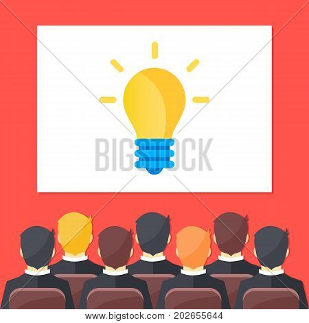Sitting people in auditorium and big white screen with light bulb. Creative training, creativity, brainstorming, creative idea, business webinar concepts. Flat design vector illustration