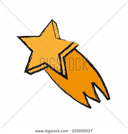 shooting star icon over white background vector illustration