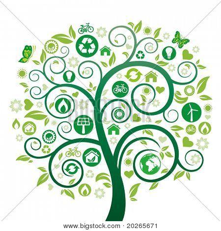 green tree illustration,environment icon