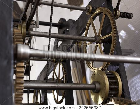 Old Mechanism Of A Big Tower Clock
