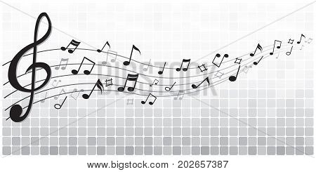 Abstract black notes music on a Graphic white gray background, vector illustration