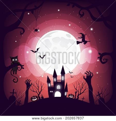 Halloween element design on full moon background with copy space, Trick or Treat Concept, vector illustration