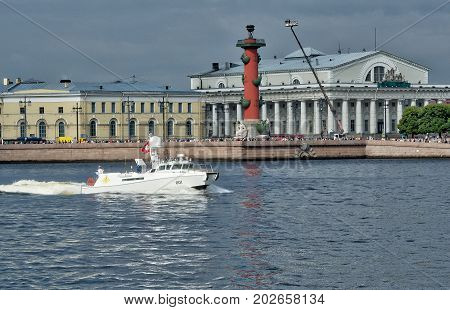 SAINT-PETERSBURG RUSSIA - JULY 20 2017: White boat commander of the parade. The Naval Parade in St. Petersburg