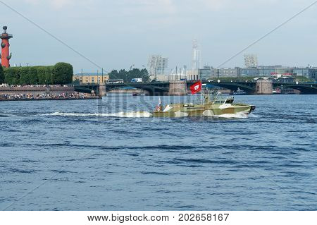 SAINT-PETERSBURG RUSSIA - JULY 30 2017: High-speed patrol boat