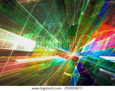 Science fiction or virtual reality background - abstract computer-generated 3d illustration. Fractal art: glass walls with perspective and lights effects. For web design, posters, covers.
