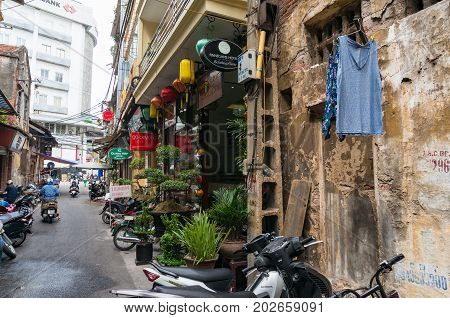 Narrow Street In Old Quarters District In Hanoi