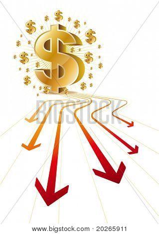 red arrow,gold dollar