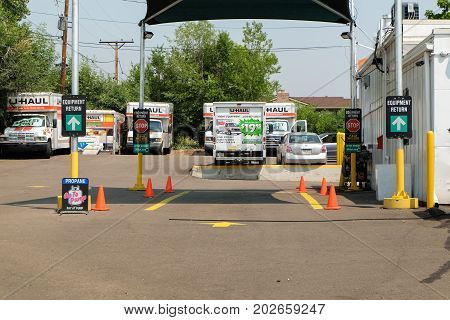 Denver, Colorado, USA - August 7, 2017: U-Haul trucks parked at rental place. U-Haul truck is a moving equipment and storage rental company.