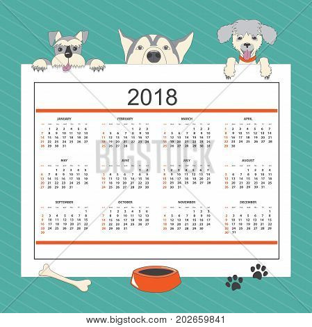Kids calendar for wall year 2018 with three cartoon dogs. English language. Classic american style. Week starts on Sunday. There are all 12 month. eps 10