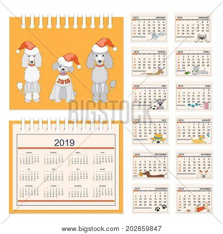 Business american calendar for desk on 2018 year. Set of the 12-month isolated pages with funny cartoon dogs and three dogs on the cover. English language. Week starts on Sunday. eps 10