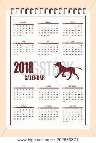 Classic american calendar for wall year 2018 with cartoon dog silhouette. English language. Week starts on Sunday. There are all 12 month. eps 10