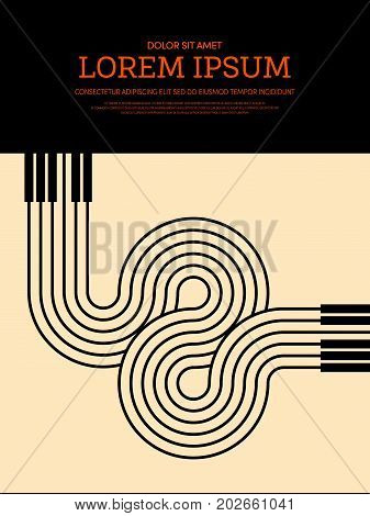 Music retro vintage style poster background. Design element template can be used for backdrop brochure leaflet publication vector illustration