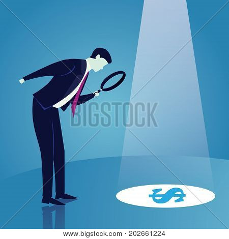 Businessman Looking Trough Magnifying Glass