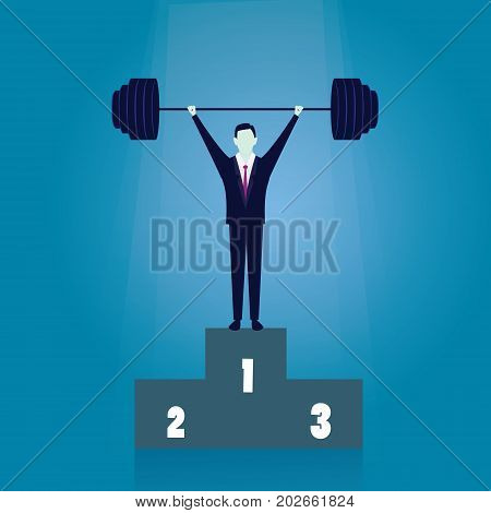 Vector illustration. Business power strength concept. Strong super businessman lifting heavy barbel iron wight
