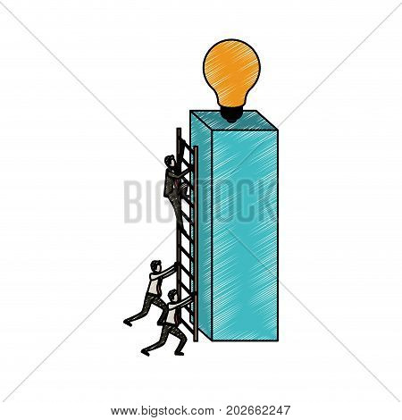 businessmen climbing wooden stairs in a big rectangular block with light bulb in the top in pencils colored silhouette vector illustration