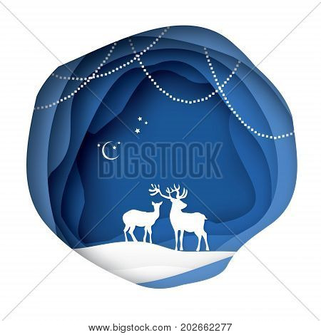 Paper Cut Deer Couple In Snowy Nature Merry Christmas Greeting Card Origami Winter Season