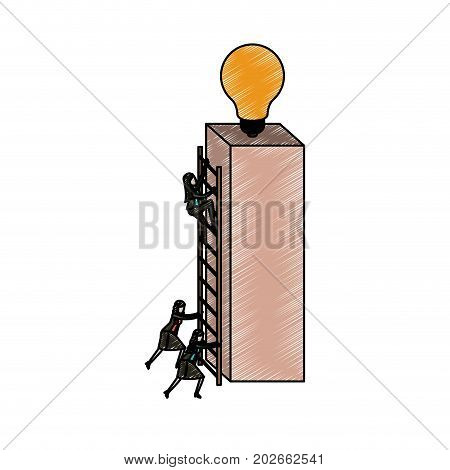 businesswomen climbing wooden stairs in a big rectangular block with light bulb in the top in pencils colored silhouette vector illustration