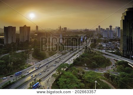 Bird view of new Semanggi highway interchange at Jakarta Indonesia