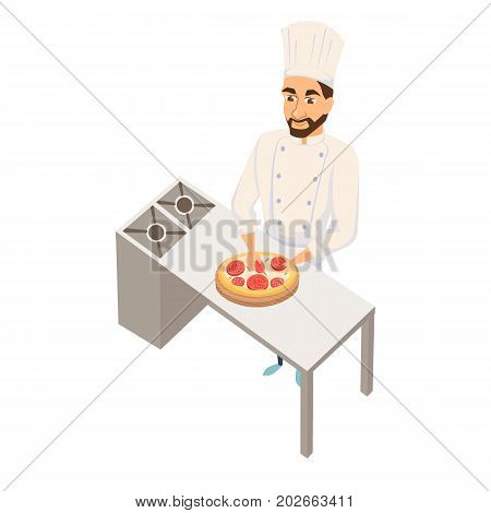 Chef making pizza. Restaurant cooking. Cook in uniform preparing food in hotel. Professional master