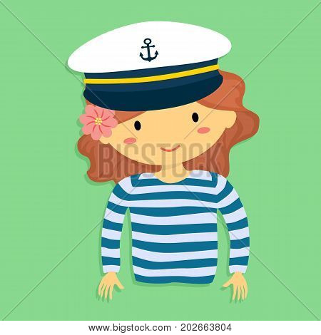 Girl with Sailor Shirt and Marine Captain Cap on Green Background Cartoon Vector Illustration