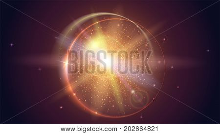 Blurred light rays and lens flare backdrop. Glow light effect. Star burst with sparkles. Abstract bright motion background. Dynamic digital, technology backdrop. Vector illustration.