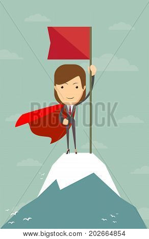 Super Woman with flag on a Mountain peak, Business success concept
